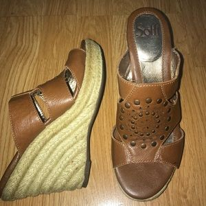 SOFFT 6 M Studded Brown Slip On Mules Wedges Heels